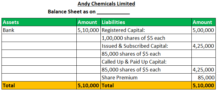Balance Sheet of Andy chemical ltd