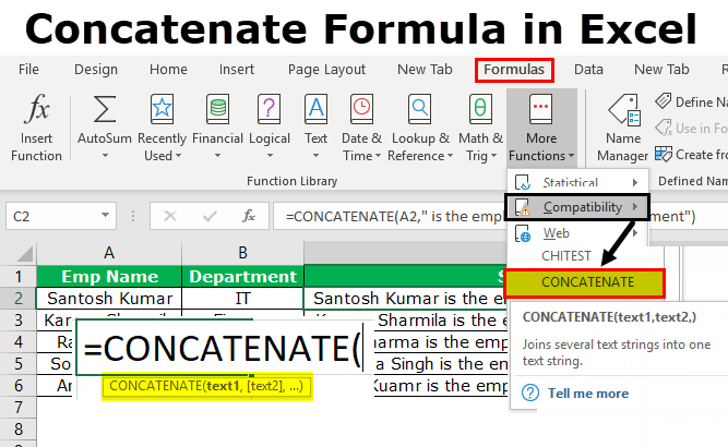 Concatenate Formula in Excel | Step by Step Guide with Examples
