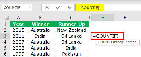 Countif Formula Example 1-1