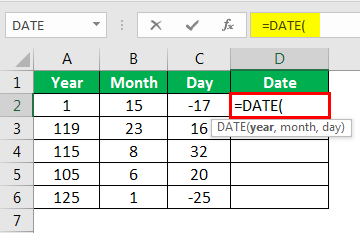 Date in Excel Formula Example 1-2