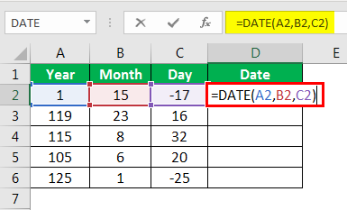 Date in Excel Formula Example 1-3