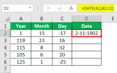 Date in Excel Formula Example 1-4