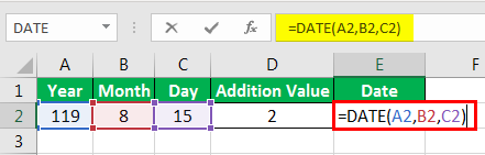 Date in Excel Formula Example 2-1
