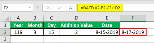 Date in Excel Formula Example 2-4
