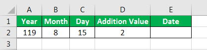 Date in Excel Formula Example 2