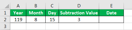 Date in Excel Formula Example 3