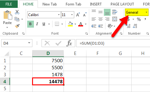 Excel Formual Not Working Example 1-5