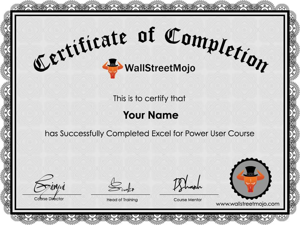 Excel for Power User Course Certificate