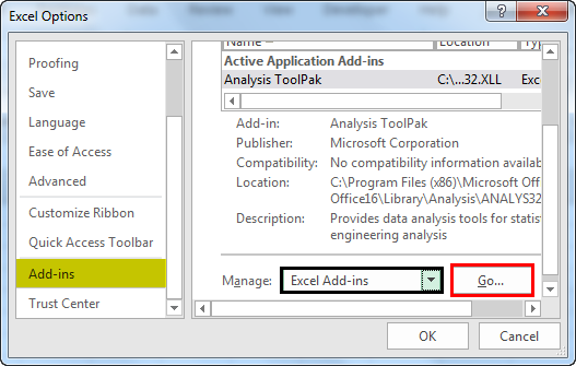 Excel options (Add-ins Window)