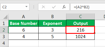 Exponents in Excel Examples 1-10