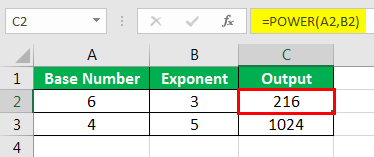 Exponents in Excel Examples 1-2