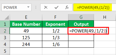Exponents in Excel Examples 1-5