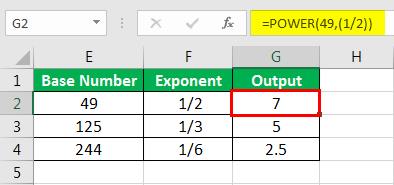 Exponents in Excel Examples 1-6