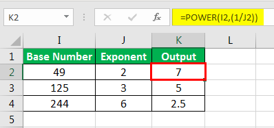 Exponents in Excel Examples 1-8