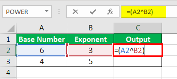 Exponents in Excel Examples 1-9