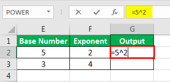 Exponents in Excel Examples 2-1