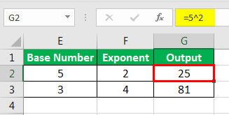 Exponents in Excel Examples 2-2
