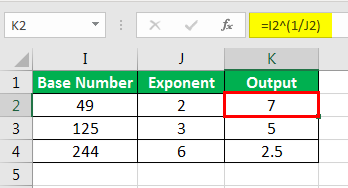 Exponents in Excel Examples 2-4