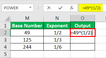Exponents in Excel Examples 2-5