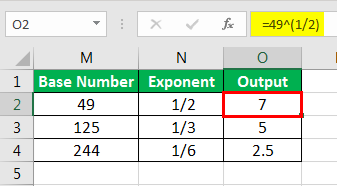 Exponents in Excel Examples 2-6