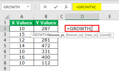 GROWTH Formula Example 1-1
