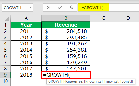 GROWTH Formula Example 2-1