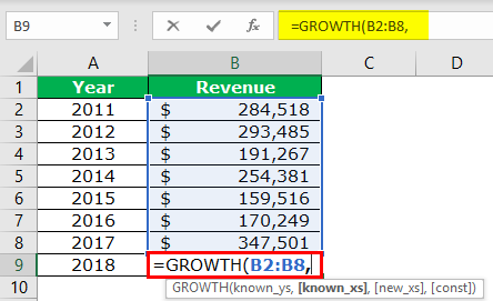GROWTH Formula Example 2-2