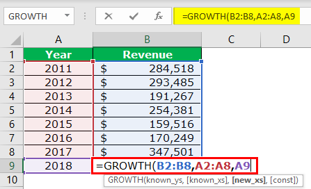 GROWTH Formula Example 2-4