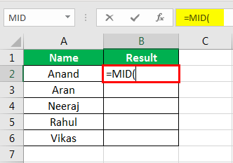 MID Formula in Excel Example 1-2