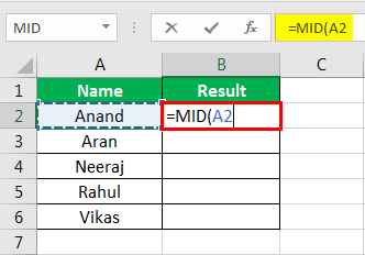 MID Formula in Excel Example 1-3