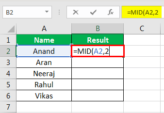 MID Formula in Excel Example 1-4