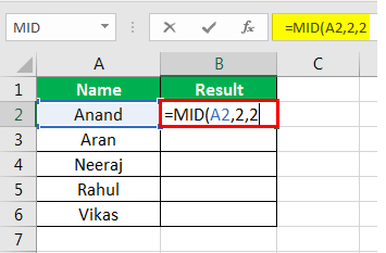 MID Formula in Excel Example 1-5