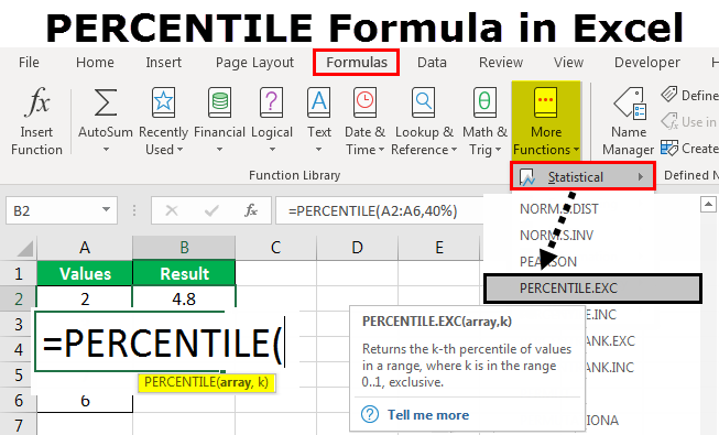 PERCENTILE Formula in Excel