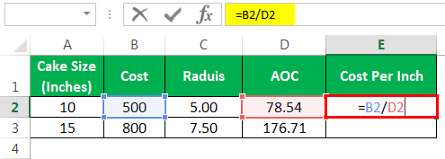 pi in excel formula Example 2-6