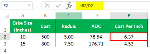 pi in excel formula Example 2-7