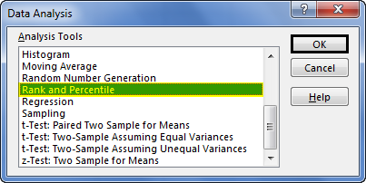 Rank and percentile Example 3-1