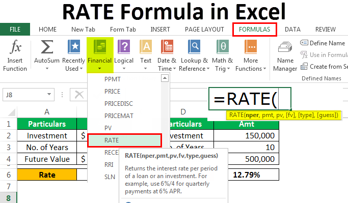 Rate Formula in Excel