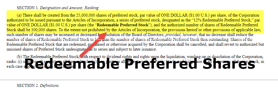 Redeemable Preferred Shares