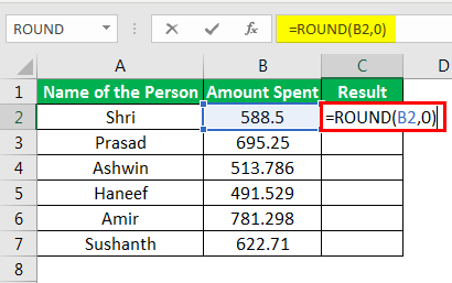 Round Formula in Excel example 1-2