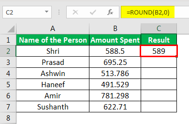 Round Formula in Excel example 1-3