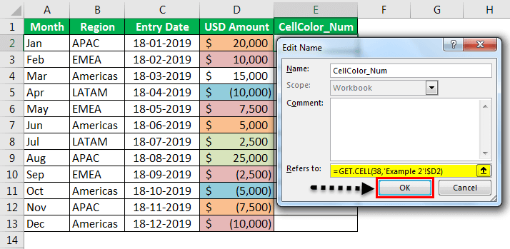 Sum by color in Excel Example2-4