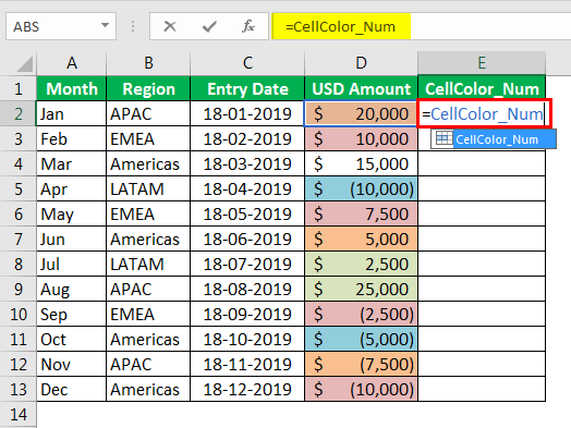 Sum by color in Excel Example2-5