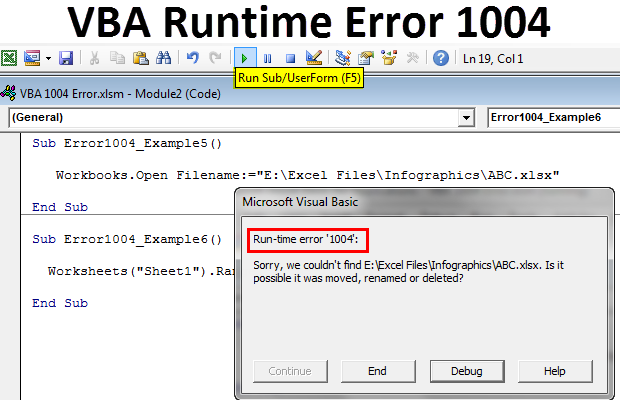 VBA 1004 Error (Top 6 Types) | How to Fix Runtime Error 1004 ...
