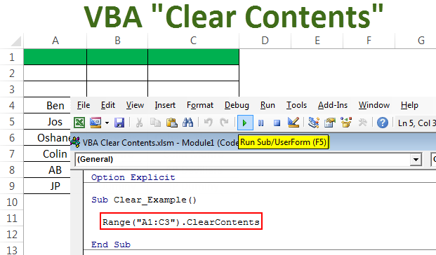 VBA Clear Contents