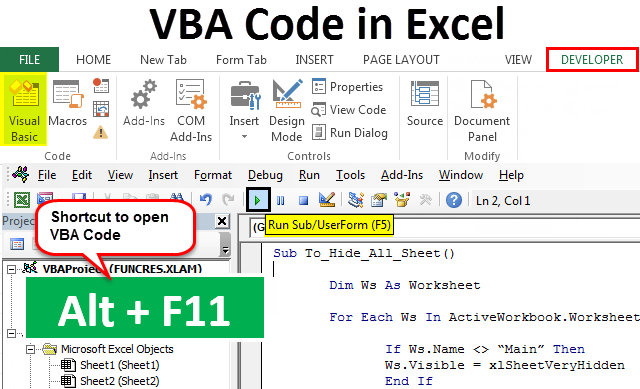 VBA Code in Excel | How to Insert and Run Code in Excel VBA?