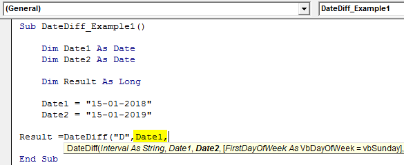 VBA DateDiff Example 1-6