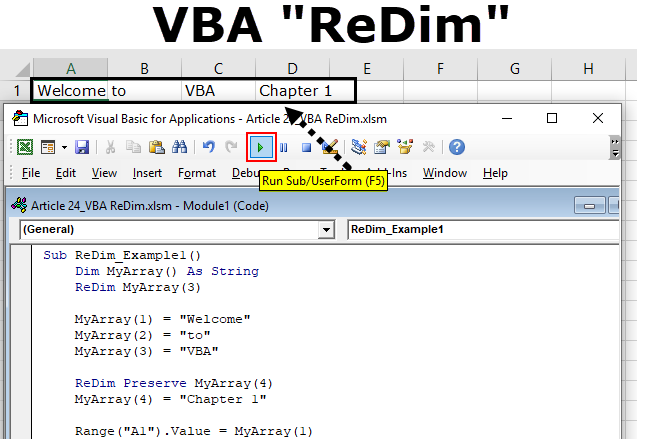 VBA ReDim | How to handle Dynamic Arrays using VBA ReDim