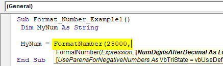 VBA Format Number Example 1-1