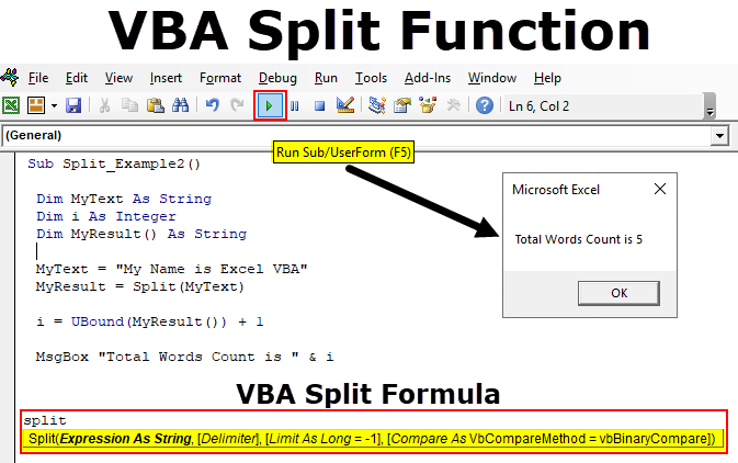 VBA Split Function (Examples) | How to Split Strings in Excel VBA?