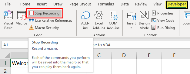 VBA Tutorial (Stop recording)